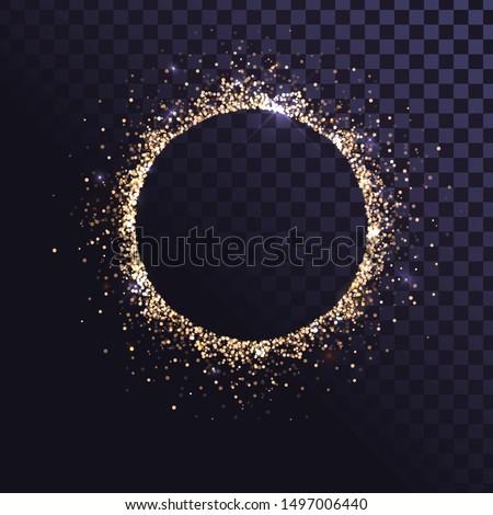 Round frame of golden sparkling dust, glamorous pattern.