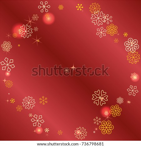 round frame or border christmas background with random scatter falling golden snowflakes red blurred lights