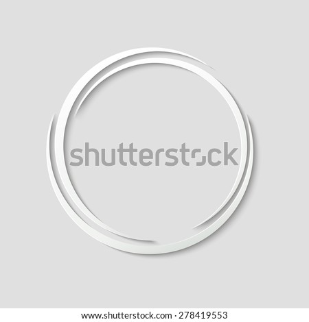 Round frame or paper label with shadow for text or design. Vector illustration