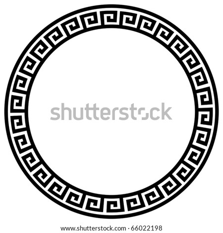 Round frame with a meander. Vector black and white  illustration. - stock vector