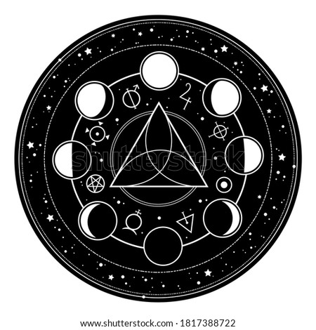 round frame with alchemical magic signs Zdjęcia stock ©