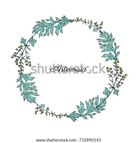 round frame with artemisia