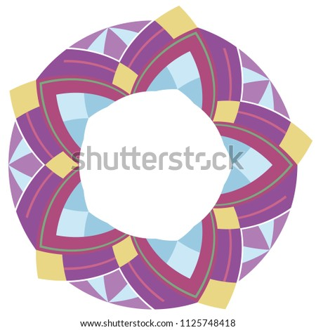 Round frame with ethnic geometric pattern. Native ornament.  The element is separate from the background. Template for postcards, invitations and your design