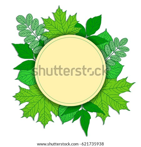 round frame with green leaves