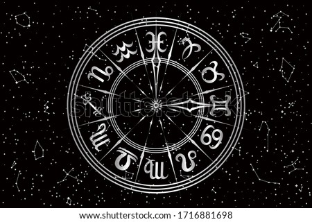 Round Frame with Zodiac Signs. Horoscope Symbol. Panoramic Sky Map of Hemisphere. Black and White Constellations on Starry Night Background. Vector Illustration