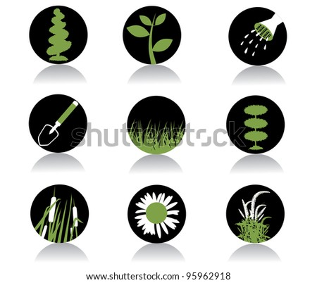 Round Garden plant icon symbol logo element set EPS 8 vector, grouped for easy editing. No open shapes or paths.