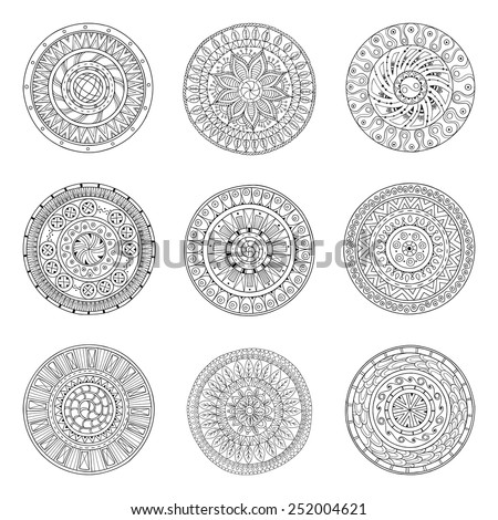 Round geometric ornaments set of had drawn doodle mandalas.Circle lace ornament, round ornamental geometric doily pattern collection. Black and white.