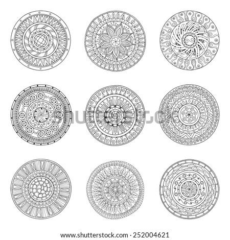 round geometric ornaments set...