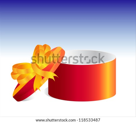 Round gift box with golden bow isolated on white. Vector illustration eps 10.