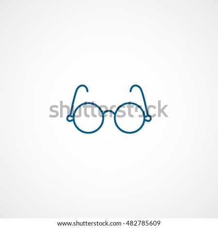 Round Glasses Blue Line Icon On White Background