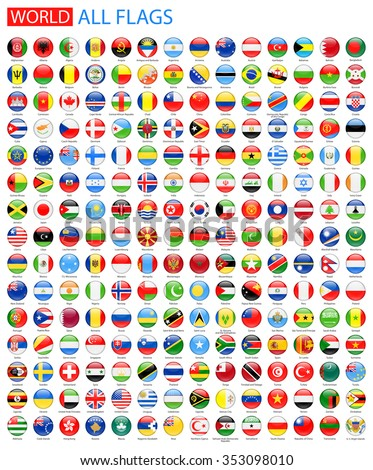 Round Glossy All World Vector Flags - Vector Collection #353098010