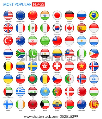 Round Glossy Most Popular Flags - Vector Collection Vector Set of National Flag Icons  #352515299