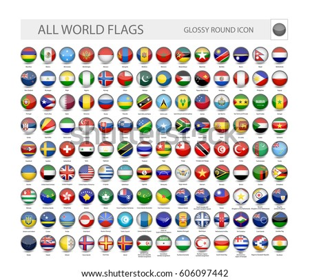 round glossy world flags vector