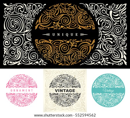 Round gold calligraphic royal emblem set. Vector floral symbol for cafe, restaurant, shop, print, stamp. Logo design template label for coffee, tea, business card. Isolated ornament