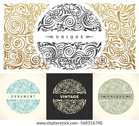 Round gold calligraphic royal emblem set. Vector floral symbol for cafe, restaurant, shop, print, stamp. Logo design template label for coffee, tea, business card. Isolated line ornament
