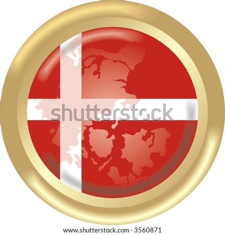round gold medal with map and flag from Denmark