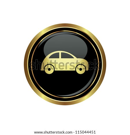 Round golden button with car icon. Vector illustration