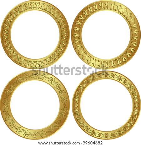 round golden frames with ornaments - stock vector