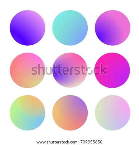Round gradient set with modern abstract backgrounds. Colorful fluid covers for calendar, brochure, invitation, cards. Trendy soft color. Template with round gradient set for screens and mobile app