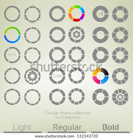 Round graph circular charts, set of thirty design templates, from one to ten segments in three variations of thickness