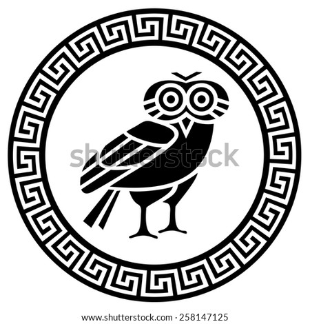 round greek meander and owl
