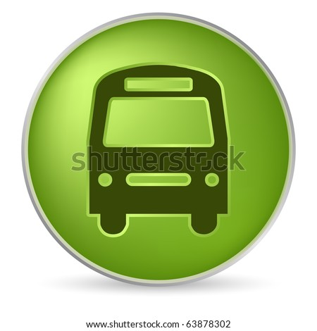 round green bus icon in 3D effect