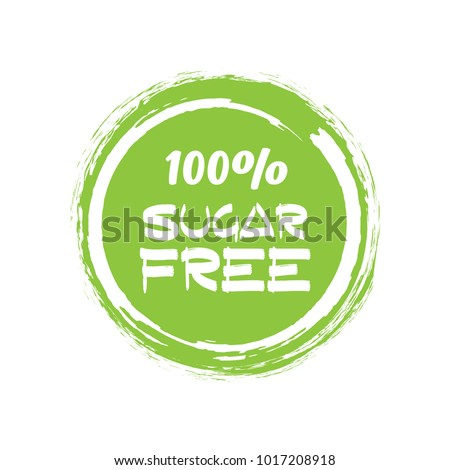 Round green label with text - Sugar free. Vector illustration