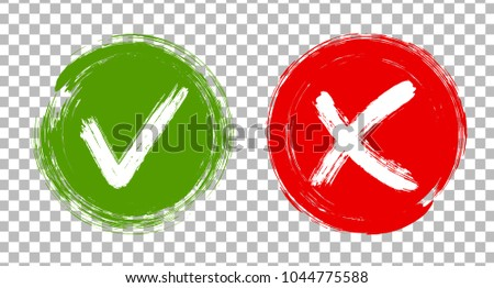 Round green symbolic OK and red X isolated on transparent. YES or NO acceptance and rejection checkmarks vector symbols for vote choice. Tick and cross signs, approval icons, check marks design.