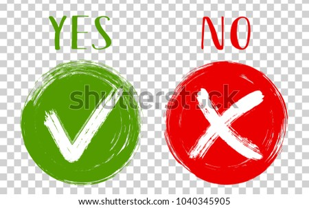 Round green symbolic tick OK and red X cross check marks isolated on transparent. YES or NO approve and decline checkmarks, vector choice symbols. Tick and cross signs, approval icons, check marks.