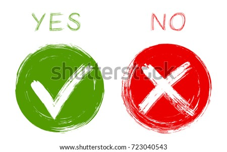 Round green symbolic tick OK and red X cross check marks isolated on white. YES or NO approve and decline checkmarks, vector  choice symbols. Tick and cross signs, approval icons, check marks design.