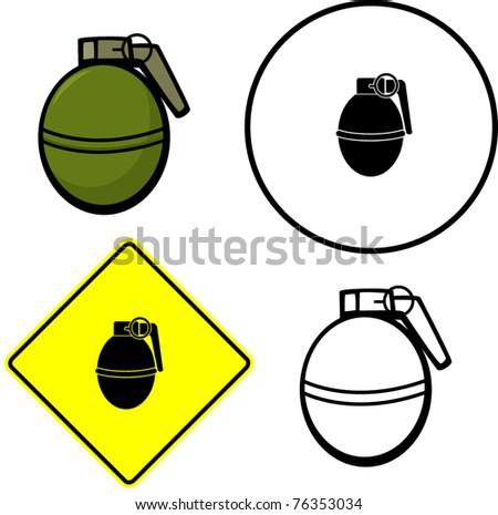 round grenade explosive illustration sign and symbolExplosive Symbol Vector