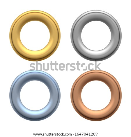 Round grommets. Rounded metallic eyelets for holes in labels and fabric, metalic clothes grommet components for jeans, silver shackle set vector illustration
