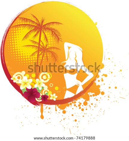 Round grunge banner with girl's silhouette, palm trees and tropical flowers
