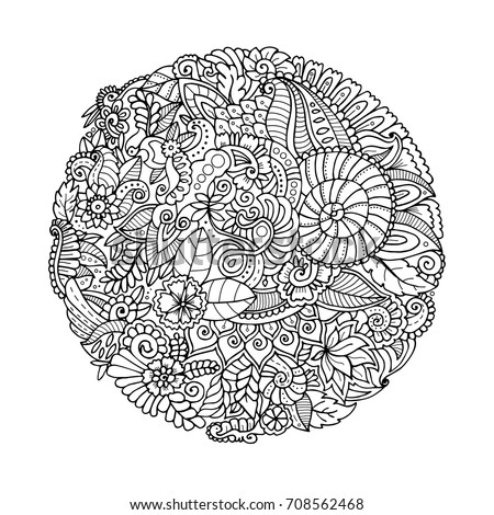 round hand drawn zentangle