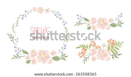 Round handdrawn wreath. Floral decorative frame and floral design elements. Collection of clip art vector bouquets. Perfect for wedding invitations and birthday cards