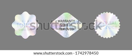 Round Hologram Label Set Isolated On White. Geometric Holographic Label For Award Design, Product Guarantee, Sticker Design. Vector Hologram Sticker Collection. Quality Holographic Sticker Set.
