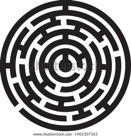 round icon labyrinthe vector in black and white illustration