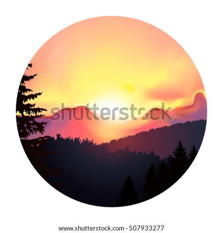 round icon landscape