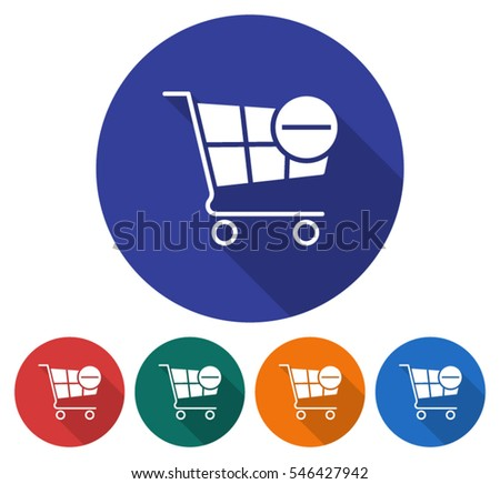 Round icon of shopping trolley with minus sign (remove from cart). Flat style illustration with long shadow in five variants background color