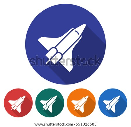 Round icon of space shuttle. Flat style illustration with long shadow in five variants background color
