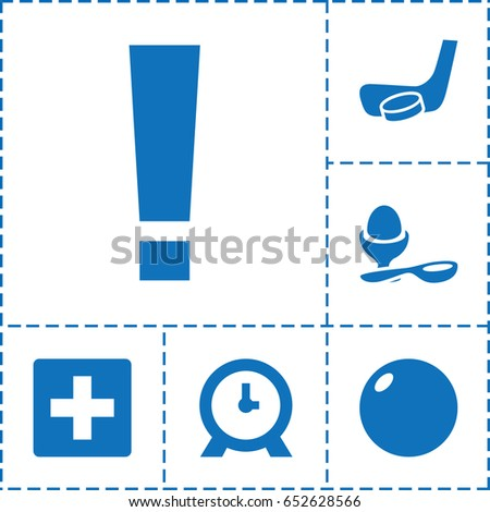 Round icon. set of 6 round filled icons such as clock, boiled egg, hockey stick and puck, plus, exclamation point