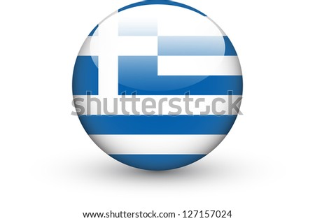 Round icon with national flag of Greece isolated on white background