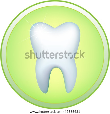 Round icon with the image of a human tooth