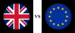 round icon with united kingdom vs europe flags