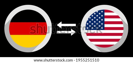 round icons with germany and united states flags. dem to usd exchange rate concept