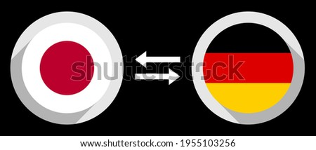 round icons with japan and germany flags. jpy to dem exchange rate concept