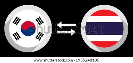 round icons with south korea and thailand flags. krw to thb exchange rate concept