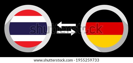 round icons with thailand and germany flags. thb to dem exchange rate concept