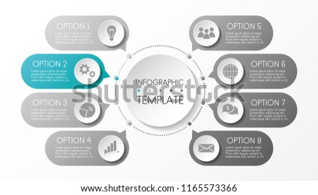 Round infograph with business icons. Vector.