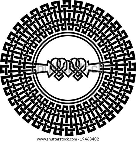 stock vector : mandala henna celtic tattoo, t-shirt round design mandala tattoo